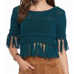 FREE PEOPLE Fringe Pullover Crochet Crop Top XS